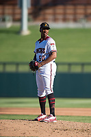 Salt River Rafters relief pitcher Tyler Mark (50), of the Arizona Diamondbacks organization, gets ready to deliver a pitch during an Arizona Fall League game against the Glendale Desert Dogs at Salt River Fields at Talking Stick on October 31, 2018 in Scottsdale, Arizona. Glendale defeated Salt River 12-6 in extra innings. (Zachary Lucy/Four Seam Images)