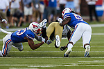 Tulsa Golden Hurricane wide receiver Josh Johnson (13) in action during the game between the Tulsa Golden Hurricanes and the SMU Mustangs at the Gerald J. Ford Stadium in Fort Worth, Texas.