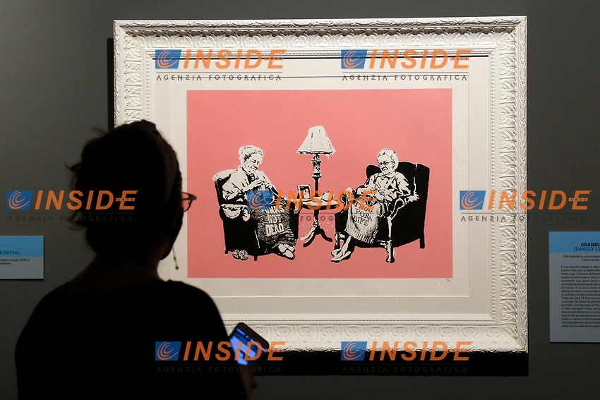 Exhibition of the artist Bansky, titled A visual Protest, at Chiostro del Bramante in Rome. In the picture the painting Grannies<br /> Rome (Italy), September 10th 2020<br /> Photo Samantha Zucchi Insidefoto