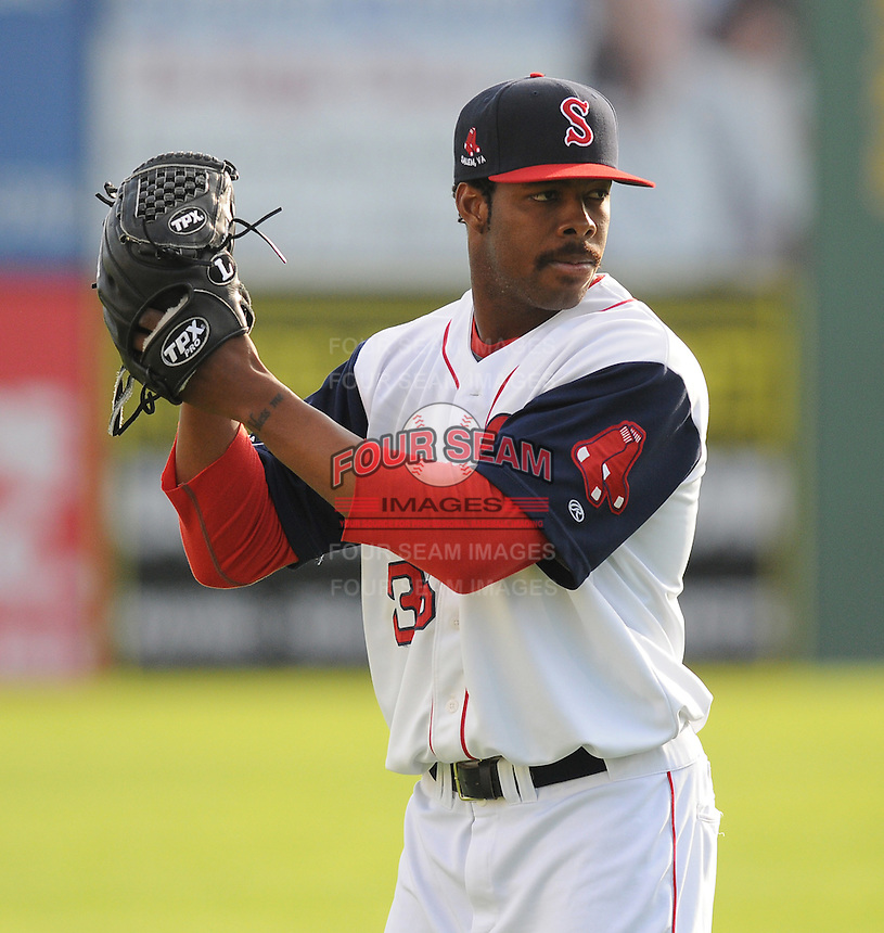 Pitcher Miguel Celestino (36) of the Salem Red Sox, a Boston Red Sox affiliate, prior to a game against the Winston-Salem Dash on June 6, 2012, at LewisGale Field in Salem, Virginia. Salem won, 4-1. (Tom Priddy/Four Seam Images)