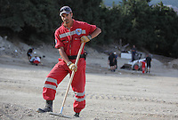 Pictured: Hellenic Red Cross volunteer worker Raphael Gerasklis at the farmhouse site in Kos, Greece. Monday 10 October 2016<br />Re: Police teams led by South Yorkshire Police are searching for missing toddler Ben Needham on the Greek island of Kos.<br />Ben, from Sheffield, was 21 months old when he disappeared on 24 July 1991 during a family holiday.<br />Digging has begun at a new site after a fresh line of inquiry suggested he could have been crushed by a digger.