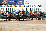 HALLANDALE BEACH, FL- MARCH 19: Horses leave the starting gate at the beginning of the 9th race at Gulfstream Park on March 19, 2016 in Hallandale Beach, Florida. (Photo by Arron Haggart/Eclipse Sportswire/Getty Images)