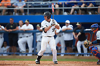 Ben Breazeale (39) of the Wake Forest Demon Deacons at bat against the Florida Gators in the completion of Game Two of the Gainesville Super Regional of the 2017 College World Series at Alfred McKethan Stadium at Perry Field on June 12, 2017 in Gainesville, Florida. The Demon Deacons walked off the Gators 8-6 in 11 innings. (Brian Westerholt/Four Seam Images)