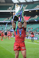 Antoine Dupont (c) of Toulouse celebrates winning the Heineken Champions Cup Final match between La Rochelle and Toulouse at Twickenham Stadium on Saturday 22 May 2021 (Photo by Rob Munro/Stewart Communications)