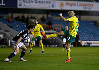 2nd February 2021; The Den, Bermondsey, London, England; English Championship Football, Millwall Football Club versus Norwich City; Goalkeeper Michael McGovern of Norwich City taking a shot past Dan McNamara of Millwall