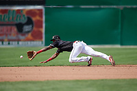 Batavia Muckdogs shortstop Demetrius Sims (3) fields a ground ball during a game against the Auburn Doubledays on September 3, 2018 at Dwyer Stadium in Batavia, New York.  Auburn defeated Batavia 8-5.  (Mike Janes/Four Seam Images)