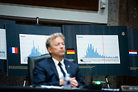 Charts of coronavirus data from France and Germany are seen as United States Senator Rand Paul (Republican of Kentucky), listens during a Senate Health, Education, Labor and Pensions Committee hearing in Washington, D.C., U.S., on Tuesday, June 30, 2020. Top federal health officials are expected to discuss efforts to get back to work and school during the coronavirus pandemic. <br /> Credit: Al Drago/CNP/AdMedia