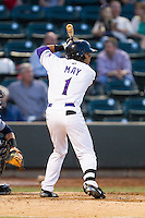 Jacob May (1) of the Winston-Salem Dash at bat against the Wilmington Blue Rocks at BB&T Ballpark on April 3, 2014 in Winston-Salem, North Carolina.  The Blue Rocks defeated the Dash 3-1.  (Brian Westerholt/Four Seam Images)