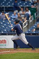 New Hampshire Fisher Cats right fielder Connor Panas (15) follows through on a swing during a game against the Trenton Thunder on August 19, 2018 at ARM & HAMMER Park in Trenton, New Jersey.  New Hampshire defeated Trenton 12-1.  (Mike Janes/Four Seam Images)
