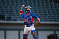 AZL Cubs catcher Henderson Perez (8) makes a throw to first base during an Arizona League game against the AZL Brewers at Sloan Park on June 29, 2018 in Mesa, Arizona. The AZL Cubs 1 defeated the AZL Brewers 7-1. (Zachary Lucy/Four Seam Images)