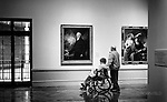 Patrons in the art gallery: Dayton Art Institute. Black and white moments