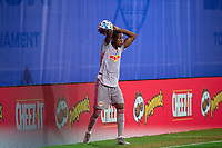 LAKE BUENA VISTA, FL - JULY 16: Kyle Duncan #6 of the New York Red Bulls passes the ball during a game between New York Red Bulls and Columbus Crew at Wide World of Sports on July 16, 2020 in Lake Buena Vista, Florida.