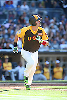 Carson Kelly of the USA Team runs to first base during a game against the World Team at The Futures Game at Petco Park on July 10, 2016 in San Diego, California. World Team defeated USA Team, 11-3. (Larry Goren/Four Seam Images)