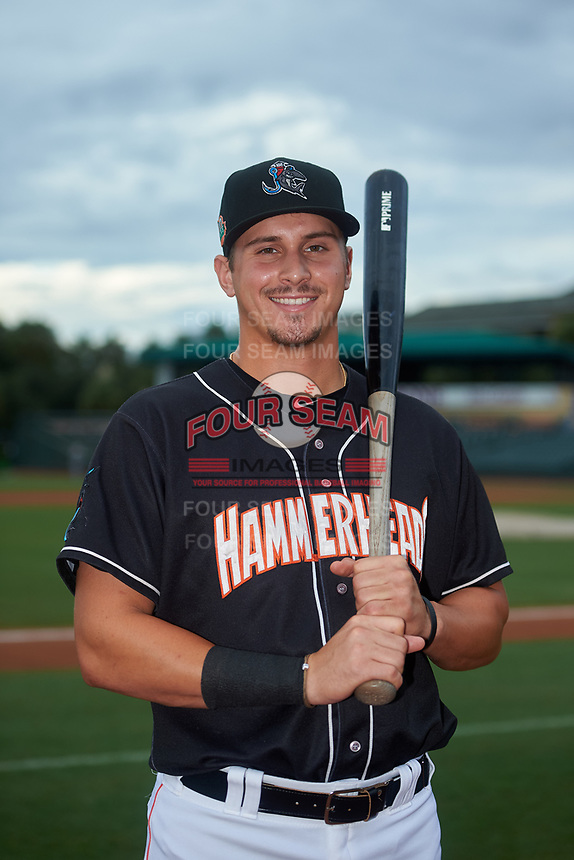 Jupiter Hammerheads JJ Bleday poses for a photo before a Florida State League game against the Lakeland Flying Tigers on August 12, 2019 at Roger Dean Chevrolet Stadium in Jupiter, Florida.  Jupiter defeated Lakeland 9-3.  (Mike Janes/Four Seam Images)