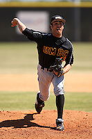 March 15, 2010:  Pitcher Sean Swetnam of UMBC vs. Long Island University at Lake Myrtle Park in Auburndale, FL.  Photo By Mike Janes/Four Seam Images