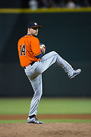 Buies Creek Astros relief pitcher Alex Winkelman (14) in action against the Winston-Salem Dash at BB&T Ballpark on April 13, 2017 in Winston-Salem, North Carolina.  The Dash defeated the Astros 7-1.  (Brian Westerholt/Four Seam Images)