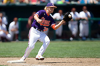 Clemson's Alex Frederick in Game 4 of the NCAA Division One Men's College World Series on Monday June 21st, 2010 at Johnny Rosenblatt Stadium in Omaha, Nebraska.  (Photo by Andrew Woolley / Four Seam Images)