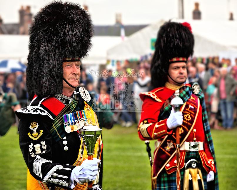Drum majors at Aboyne Scottish Games