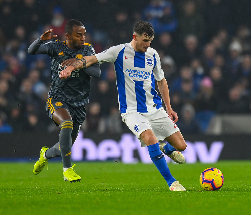 Leicester City's Ricardo Pereira (left) battles with Brighton & Hove Albion's Pascal Gross (right) <br /> <br /> Photographer David Horton/CameraSport<br /> <br /> The Premier League - Brighton and Hove Albion v Leicester City - Saturday 24th November 2018 - The Amex Stadium - Brighton<br /> <br /> World Copyright © 2018 CameraSport. All rights reserved. 43 Linden Ave. Countesthorpe. Leicester. England. LE8 5PG - Tel: +44 (0) 116 277 4147 - admin@camerasport.com - www.camerasport.com