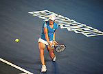 January 30, 2010. Justine Henin of Belgium, in action, during hern6-4, 3-6, 6-2 loss to Serena Williams, of the USA, in the final of the Women's Singles Championship of The Australian Open, Melbourne Park, Melbourne, Australia