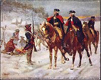 Washington & Lafayette inspecting troops at Valley Forge