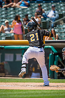 Alfredo Marte (21) of the Salt Lake Bees at bat against the Albuquerque Isotopes in Pacific Coast League action at Smith's Ballpark on June 28, 2015 in Salt Lake City, Utah.  The Isotopes defeated the Bees 8-3.(Stephen Smith/Four Seam Images)