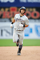 Akron RubberDucks third baseman Joe Sever (9) runs the bases after hitting a home run during the second game of a doubleheader against the Bowie Baysox on June 5, 2016 at Prince George's Stadium in Bowie, Maryland.  Bowie defeated Akron 12-7.  (Mike Janes/Four Seam Images)