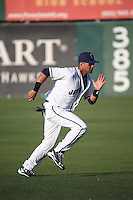 Yulieski Gurriel (24) of the Lancaster JetHawks runs in the outfield before a game against the Lake Elsinore Storm at The Hanger on August 2, 2016 in Lancaster, California. Lake Elsinore defeated Lancaster, 10-9. (Larry Goren/Four Seam Images)
