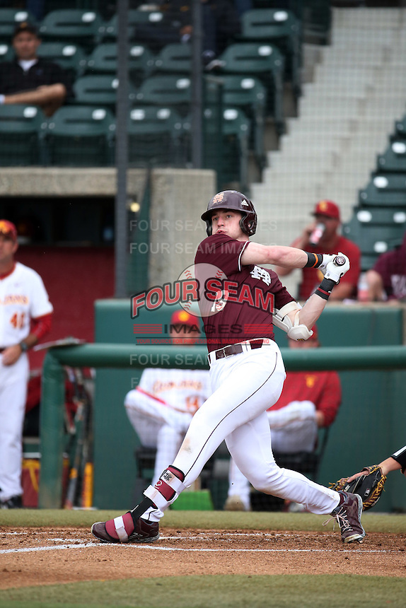 Brent Rooker (19) of the Mississippi State Bulldogs bats against the Southern California Trojans at Dedeaux Field on March 5, 2016 in Los Angeles, California. Mississippi State defeated Southern California , 8-7. (Larry Goren/Four Seam Images)