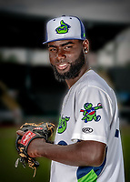 13 June 2018: Vermont Lake Monsters pitcher Rafael Kelly poses for a portrait on Photo Day at Centennial Field in Burlington, Vermont. The Lake Monsters are the Single-A minor league affiliate of the Oakland Athletics, and play a short season in the NY Penn League Stedler Division. Mandatory Credit: Ed Wolfstein Photo *** RAW (NEF) Image File Available ***