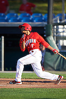 Auburn Doubledays center fielder Blake Perkins (7) at bat during a game against the Mahoning Valley Scrappers on June 19, 2016 at Falcon Park in Auburn, New York.  Mahoning Valley defeated Auburn 14-3.  (Mike Janes/Four Seam Images)