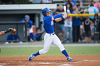 Ben Johnson (6) of the Burlington Royals follows through on his swing against the Greeneville Astros at Burlington Athletic Park on August 29, 2015 in Burlington, North Carolina.  The Royals defeated the Astros 3-1. (Brian Westerholt/Four Seam Images)