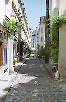 A small cobble stone street in Paris Cour Damoye Paris, France.