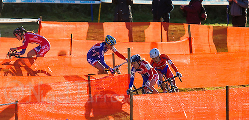 03 NOV 2012 - IPSWICH, GBR - Helen Wyman (GBR) (second from right) of Great Britain leads Sanne van Paassen (NED) (right) of the Netherlands and British team mate Nikki Harris (GBR) (second from the left) through a zig-zag section of the course during the elite women's European Cyclo-Cross Championships in Chantry Park, Ipswich, Suffolk, Great Britain. Wyman won the event after a sprint finish with van Paassen in a time of 43 minutes and 52 seconds making her the first Briton to win a senior international cyclo cross championship (PHOTO (C) 2012 NIGEL FARROW)