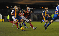Fleetwood Town's Wes Burns is tackled by Shrewsbury Town's Matthew Sadler<br /> <br /> Photographer Kevin Barnes/CameraSport<br /> <br /> The EFL Sky Bet League One - Shrewsbury Town v Fleetwood Town - Tuesday 1st January 2019 - New Meadow - Shrewsbury<br /> <br /> World Copyright © 2019 CameraSport. All rights reserved. 43 Linden Ave. Countesthorpe. Leicester. England. LE8 5PG - Tel: +44 (0) 116 277 4147 - admin@camerasport.com - www.camerasport.com