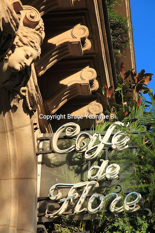 Cafe de Flore in Saint-Germain-des-Prés. Paris. City of Paris.