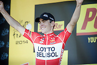 podium joy for Tony Gallopin (FRA/Lotto-Belisol)<br /> <br /> 2014 Tour de France<br /> stage 11: Besançon - Oyonnax (187km)