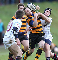 RBAI vs R S ARMAGH | Saturday 21st February 2015<br /> <br /> Michael Lowry is tackled by Jack Slator during 2015 Ulster Schools Cup Quarter-Final between RBAI and Royal School Armagh at Osborne Park, Belfast, Northern Ireland.<br /> <br /> Picture credit: John Dickson / DICKSONDIGITAL