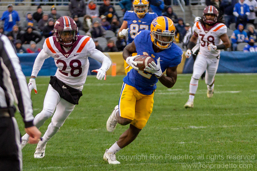 PItt Panther wide receiver Maurice Ffrench (2) makes a 78-yard touchdown catch and run. The Pitt Panthers defeated the Virginia Tech Hokies 52-22 on November 10, 2018 at Heinz Field in Pittsburgh, Pennsylvania.
