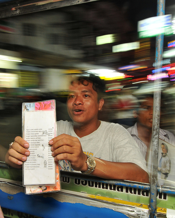 A menu like nowhere else,. Sex trade in the streets, Pattaya Thailand.