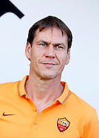 "Calcio, amichevole Roma vs Under 23 Indonesia. Rieti, stadio ""Manlio Scopigno"", 18 luglio 2014. <br /> AS Roma coach Rudi Garcia, of France, looks on prior to the start of the friendly football match between AS Roma and Under 23 Indonesia at ""Manlio Scopigno"" stadium in Rieti, Italy, 18 July 2014.<br /> UPDATE IMAGES PRESS/Isabella Bonotto"