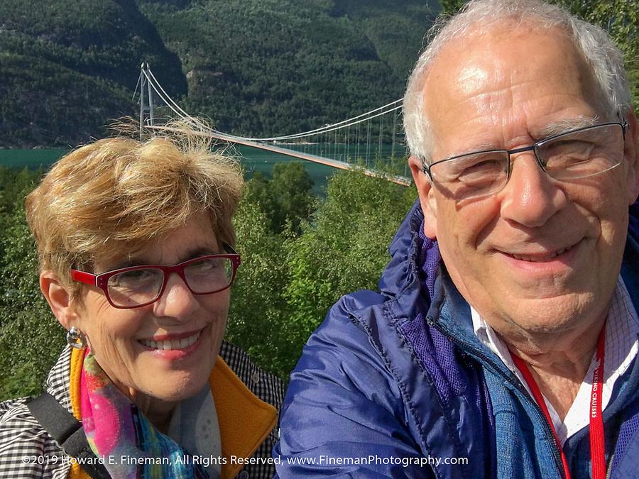 Fjord suspension bridge overlook near Eidfjord