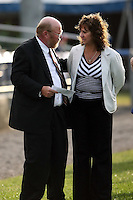 June 18th 2008:  Batavia Muckdogs General Manager Dave Wellenzohn and Rochester Red Wings Chairman of the Board Naomi Silver during opening ceremonies for the Batavia Muckdogs at Dwyer Stadium in Batavia, NY.  Photo by:  Mike Janes/Four Seam Images
