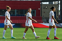 BRIDGEVIEW, IL - JULY 18: Sofia Huerta #11 of the OL Reign enters the field before a game between OL Reign and Chicago Red Stars at SeatGeek Stadium on July 18, 2021 in Bridgeview, Illinois.