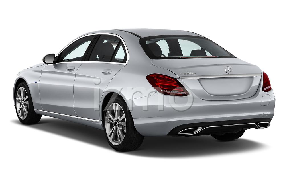 Car pictures of rear three quarter view of a 2018 Mercedes Benz C-Class Sedan C350e Plug-in Hybrid 4 Door Sedan angular rear