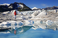 Standing on Columbia Glacier, Prince William Sound, Chugach National Forest, Alaska.