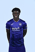 30th July 2020, Turbize, Belgium;   Jeremy Doku forward of Anderlecht pictured during the team photo shoot of RSC Anderlecht prior the Jupiler Pro league football season 2020 - 2021 at Tubize training Grounds.