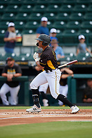 Bradenton Marauders Cal Mitchell (34) hits an RBI single during a Florida State League game against the Palm Beach Cardinals on May 10, 2019 at LECOM Park in Bradenton, Florida.  Bradenton defeated Palm Beach 5-1.  (Mike Janes/Four Seam Images)