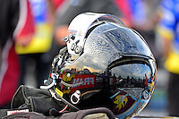 Sept. 28, 2012; Madison, IL, USA: Detailed view of the helmet of NHRA pro mod driver Leah Pruett during qualifying for the Midwest Nationals at Gateway Motorsports Park. Mandatory Credit: Mark J. Rebilas-