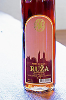 Bottle of Medugorska Ruza rose wine. Label detail. Podrum Vinoteka Sivric winery, Citluk, near Mostar. Federation Bosne i Hercegovine. Bosnia Herzegovina, Europe.